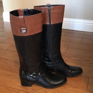 Bandolino Knee-High Black and Brown Boots Size 10
